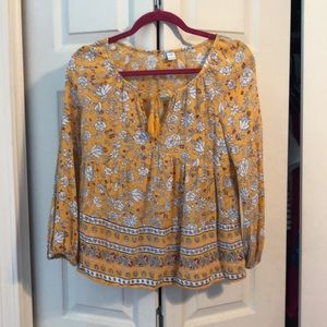 Yellow Patterned Boho Top